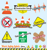 Vector Set: Work Safety Labels and Stickers. Collection of retro style work safety labels and icons Royalty Free Stock Photos