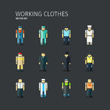 Vector set of workers in coveralls in flat design Stock Photo