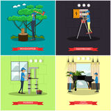 Vector set of workers profession posters in flat style Stock Image