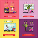 Vector set of workouts in the gym, flat design Stock Image