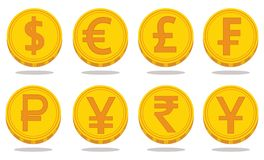 Collection of icons with currency symbols. Vector illustration Stock Images