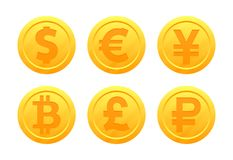 World currency symbols in the form of gold coins with signs: dollar, euro, pound, ruble, yen, bitcoin, yuan. Vector set of world currency symbols in the form of Stock Images