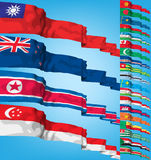 Vector Set of world flags. High detailed 3d  concept Stock Photo
