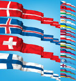 Vector Set of world flags. High detailed 3d concept stock illustration