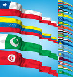 Vector Set of world flags. High detailed 3d concept vector illustration