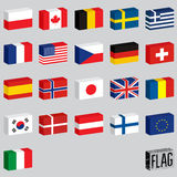 Vector set of world flags. Flags-boxes. Royalty Free Stock Image