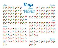 Vector set of world flags isolated on white background. Complete collection. High detail royalty free illustration