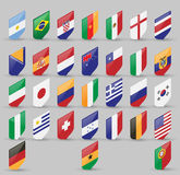 Vector set of world Flags of sovereign states. Isometric view isolated on gray background. Vector set of world Flags of sovereign states. Isometric view vector illustration