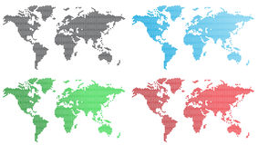 Vector set of world maps. Set of world maps from hexagons Stock Photos