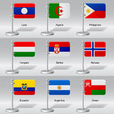Vector set of world table flags. Transparent drop shadow. There is in addition a vector format (EPS 10 royalty free illustration