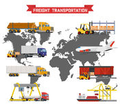 Vector set on worldwide shipping, heavy transport. Vector volumetric set on worldwide shipping, heavy transport, delivery ways and logistics in business and Royalty Free Stock Photos