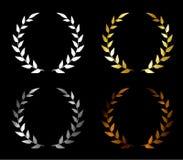 Vector. Set of wreaths. Golden award, silver award, bronze award, blank award. Wreath for a winner. stock illustration
