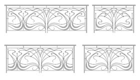 Vector set: wrought iron fence and grilles. Isolated on white background vector illustration