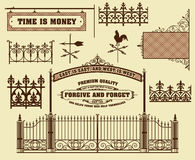 Vector set: wrought iron wicket. Fence and gates grilles isolated royalty free illustration
