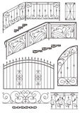 Vector set: wrought iron wicket, railing, fence. Vector set: wrought iron wicket, stairs railing, fence and window grilles isolated on white background vector illustration