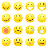 Vector Set of 16 Yellow Emoticons Royalty Free Stock Photos