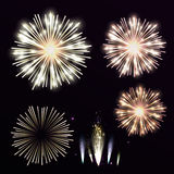 Vector Set Yellow Firework On Black Background. Night Sky With S Stock Photography