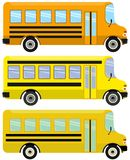 Vector set of yellow school buses. Set of school buses on a white background. Vector illustration Royalty Free Stock Images