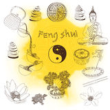 Vector set of yoga and feng-shui icons Stock Photo