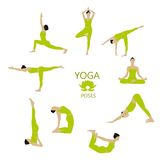 Vector Set of Yoga poses. Girl does yoga exercises. Stock Photography