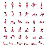 Vector set of yoga poses for health and flexibility. Woman yoga exercises for class or studio. Concept of sport style life. Collection of yoga asanas. Vector Royalty Free Stock Images
