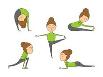 Vector set of yoga poses for health and flexibility. Woman yoga exercises for class or studio. Vector illustration in cartoon style on isolated white background Stock Photography