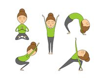 Vector set of yoga poses for health and flexibility. Woman yoga exercises for class or studio. Vector illustration in cartoon style on isolated white background Stock Images