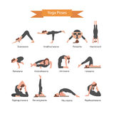 Vector set of yoga poses  on white background. Asana concept Stock Photos