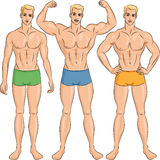 Vector set of young athletic guys in shorts Royalty Free Stock Photos