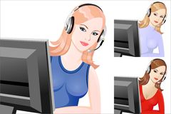 Vector Set young beautiful girl telephone operator. Beautiful young girl smiling phone operator in headphones Stock Image