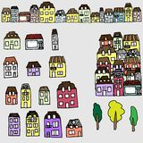 Vector set for your design: houses and real estate. Vector handdrawn set for your design: city houses and real estate Royalty Free Stock Images