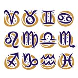 Vector set of Zodiac Signs. Collection of 12 astrology calligraphic symbols with stars for predicting horoscope on white background, original hand drawn brush royalty free illustration