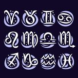Vector set of Zodiac Signs. Collection of 12 astrology calligraphic symbols with stars for predicting horoscope on blue background, original hand drawn brush stock illustration