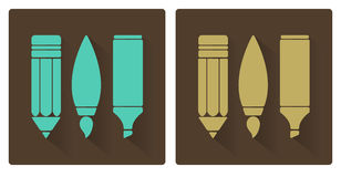 Vector sets of art tools, pencil, brush, and marker Stock Photos