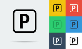 Vector seven flat icons of parking sign Royalty Free Stock Photos
