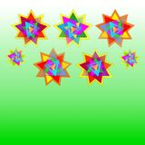Vector seven multicolored stars on pale green and green background card, postcard, invitation, illustration Stock Image