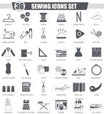 Vector Sewing black icon set. Dark grey classic icon design for web. Royalty Free Stock Photos