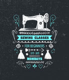 Vector sewing classes poster, flyer. Stock Photos