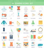 Vector Sewing color flat icon set. Elegant style design. Stock Photo