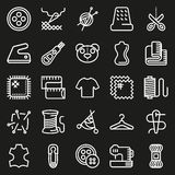 Vector sewing equipment icon set. Vector sewing equipment and needlework icon set for app, web. Vector illustration on black background Stock Illustration