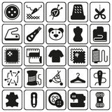 Vector sewing equipment icon set. Vector sewing equipment and needlework icon set for app, web. Vector illustration on button background Vector Illustration