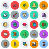 Vector sewing equipment icon set. Vector sewing equipment and needlework icon set for app, web. Vector illustration on round background Royalty Free Stock Photography