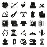 Vector sewing equipment icon set. Vector sewing equipment and needlework icon set for app, web. Vector illustration on white background Royalty Free Illustration