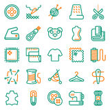 Vector sewing equipment icon set. Vector sewing equipment and needlework icon set for app, web. Vector illustration on white background Royalty Free Stock Images