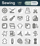 Vector sewing equipment icon set. Vector sewing equipment and needlework icon set for app, web. Vector illustration on white background Royalty Free Stock Photography