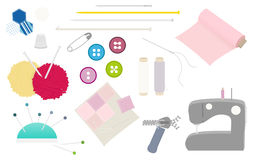 Vector sewing equipment isolated set Royalty Free Stock Photo