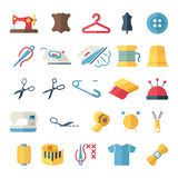 Vector sewing equipment and needlework flat icons. Set royalty free illustration