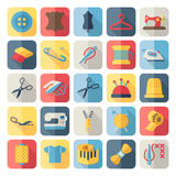 Vector sewing equipment and needlework flat icons. Set stock illustration