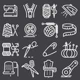Vector sewing equipment icons set. Vector sewing equipment and needlework icons set Royalty Free Stock Image