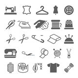 Vector sewing equipment and needlework icons set Stock Images